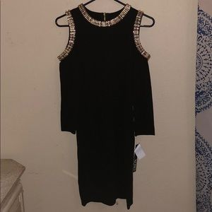 black with gold chains long sleeve dress